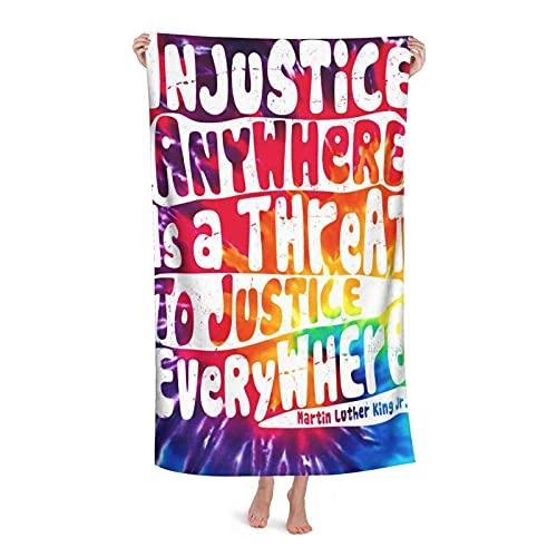 Toalha de praia de microfibra Injustice Anywhere is A Threat to Justice Everywhere MLK Citação Toalhas de banho para adultos, crianças, meninos e meninas