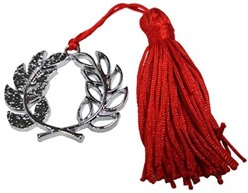 10 colgantes de graduación con corona de laurel de metal con borla para bombonera.
