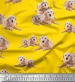 Soimoi Gelb Seide Stoff Golden Retriever Hund Drucken Nahen