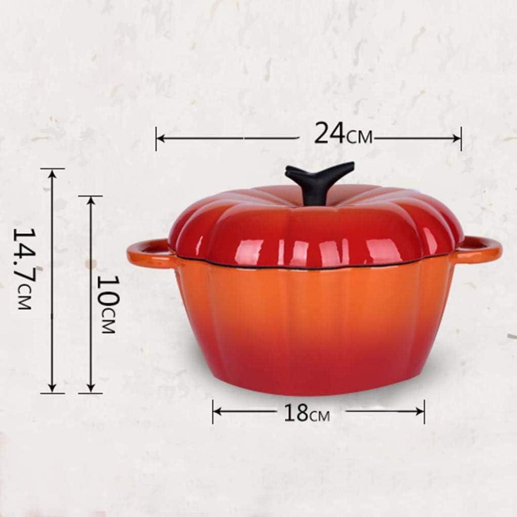 MYYINGBIN Casserole en Fonte De 24 Cm avec RevêTement en éMail AntiadhéSif, Pot De RagoûT Binaural Aux Tomates avec Couvercle, Cadeaux pour Les Parents, 1 1