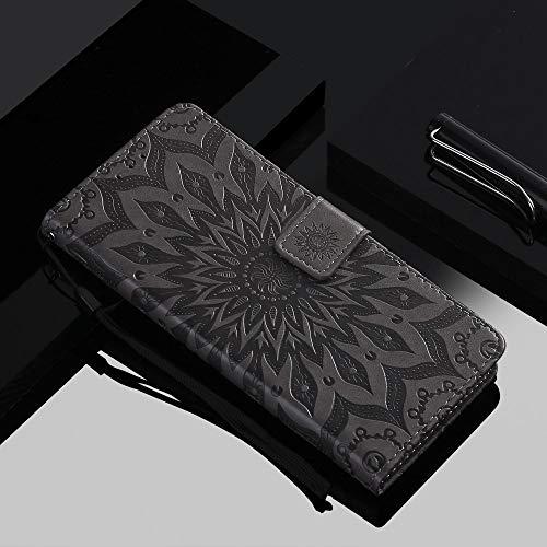 ZXMDP para iPhone 11 Pro MAX Flip Wallet Funda para teléfono para iPhone X XR XS MAX 8 7 6 5 Plus 5S Wallet Holster Tarjeta de Girasol 3D, Gris, para iPhone 5s