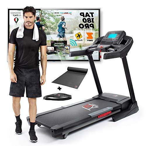 YM TAP180EVO - Cinta de correr eléctrica profesional plegable 22 km/h, aplicación Bluetooth ZWIFT y KINOMAP, inclinación y lubricación, automática, banda de cardio y alfombra incluidas, 140 kg