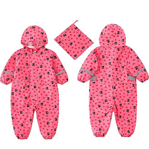 sdfae Impermeable para niños con imagen impresa completa estilo delgado para niños y niñas, impermeable, sensación buena y ligero logotipo oso rosa M