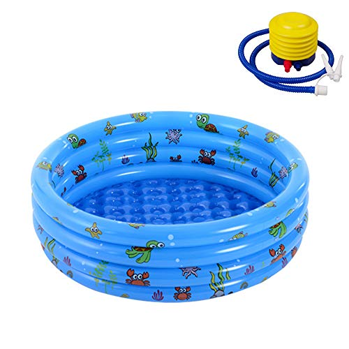 debieborahtoys 40x16 Inch Inflatable Swimming Pool for Kids 3 Rings Circles Kids Inflatable Kiddie Pool Round Swimming Pools Water Baby Pool, Family Swimming Pool for Outdoor, Garden, Backyard