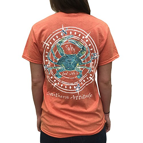 Southern Attitude Salty Deal with It Crab Sunset Orange Short Sleeve T-Shirt (X-Large)