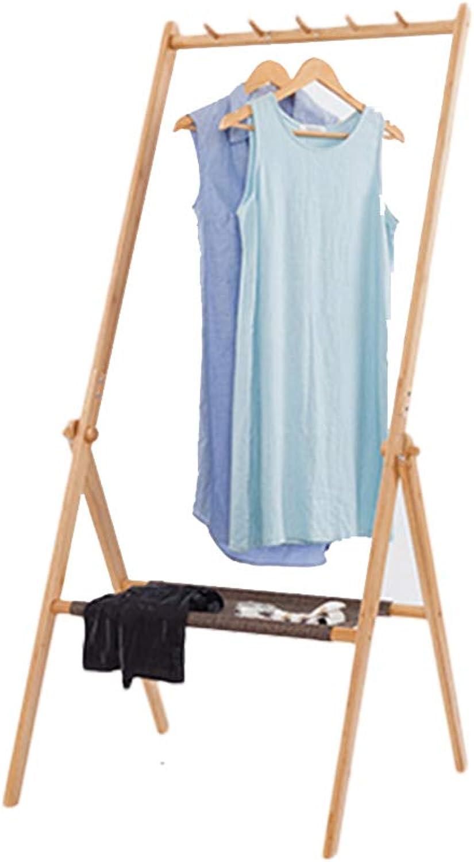 Coat Rack Multi-Function Hanger Household Foldable Coat Rack Solid Wood Living Room Porch Hanger Hamper Storage Rack (color   Wood color, Size   72  66  155CM)