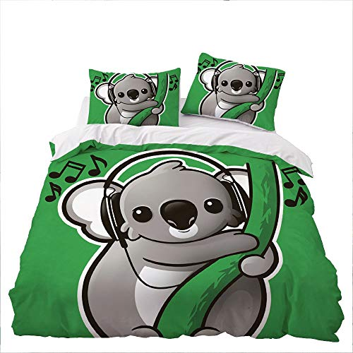 GD-SJK Bedding Sets for Children, Large Panda Sea Turtle Bedding Set, Single, Double, Duvet Cover and Pillowcase (220 x 240 cm, A03)