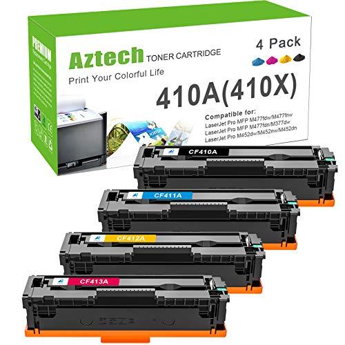 Aztech Kompatibel Tonerkartusche als Ersatz für HP 410A CF410A 410X CF410X für Color Laserjet Pro MFP M477fdw Toner M377dw M477fdn M477fnw M452dn M452nw M452dw (Schwarz,Cyan,Gelb,Magenta, 4er-Pack)