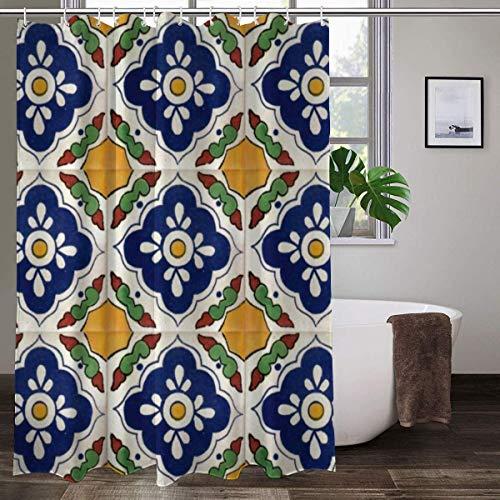Cortina de ducha de tela con 12 ganchos, cortina de baño decorativa con impresión de azulejos Talavera mexicana lavable a máquina, 183 x 183 cm