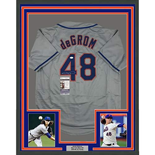 Framed Autographed/Signed Jacob DeGrom 33x42 New York NY Grey Baseball Jersey JSA COA
