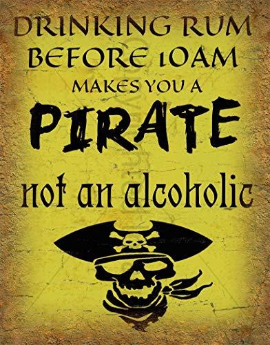 """Cartel de metal grande con diseño de pirata, estilo retro, con texto en inglés """"Drinking Rum"""""""