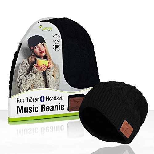 Sharon LEICKE Music Headset Beanie Bluetooth | Mütze Funkkopfhörer Stereo-Lautsprecher-Mikrofon Wireless Cap | kompatibel mit Smartphone | Schwarz