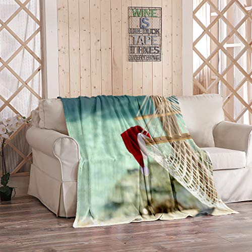 Amiiya Christmas Beach Flannel Throw Blanket, Hammock on Tropical Beach Resort Christmas Holidays Soft Lightweight Bedding Blanket for Bed Couch Sofa Camping 50 x 60 Inches