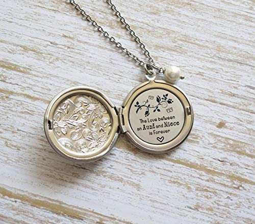 Aunt and Niece Gift The Love Between an Aunt and Niece is Forever Hidden Message Long Locket Necklace