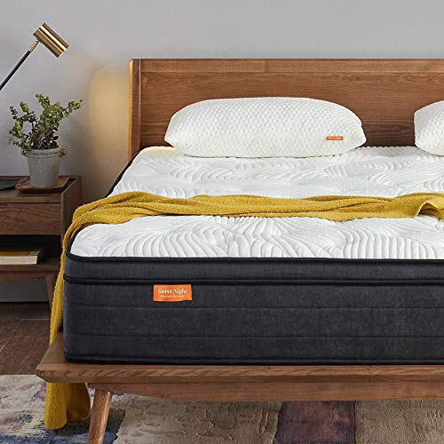 Sweetnight Double Mattress in a Box, 12 Inch Plush Pillow Top Gel Memory Foam Hybrid Mattress with Motion Isolating Individually Wrapped Coils, Bed Mattresses for Pressure Relief, 135 x 190 cm