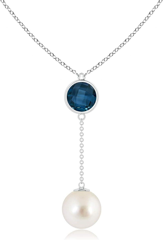 South Sea Cultured Pearl & London Blue Topaz Lariat Necklace (10mm South Sea Cultured Pearl)