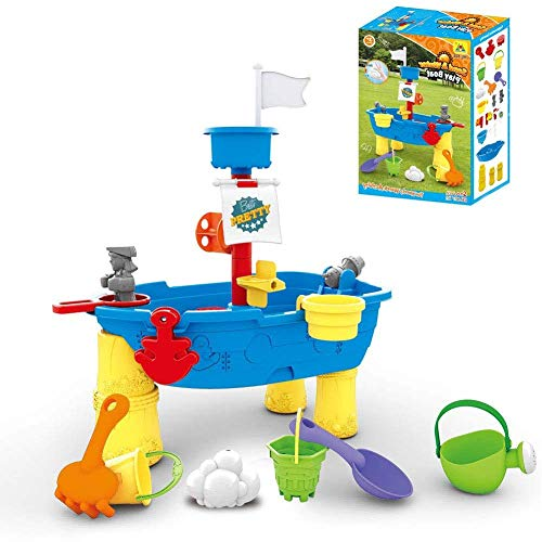 DBSCD Children's toys,Pirate Ship Water Table - Splash Seaway Water Table 2-in-1 Sand and Water for Kids,for Age 3+