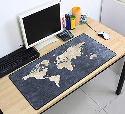 Mauspad, Motiv: Masse, Gaming-Mauspad, Weltkarte, 700 x 400 x 2 mm, zum Basteln, großes Gaming-Mauspad, mit Edge Verriegelung, Schreibtischunterlage