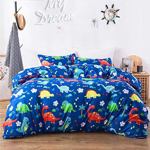 HommyFine Juego de ropa de cama infantil con funda de edredón y funda de almohada, diseño de dinosaurios azul (1 funda nórdica + 1 funda de almohada), 135 x 200 cm