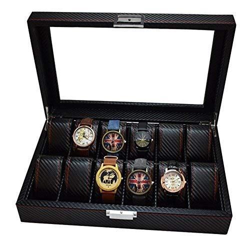 Horloge Opbergdoos, Lux Luxe Horloge Box met Glas Deksel en Slot, 12 Slots
