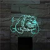 Lámpara LED 3D para dormir, Bulldog americano Overlord con hobbyUSB, sensor táctil de 7 colores, regalo para niños, lámpara de mesa, decoración de escritorio-7 colores Toque