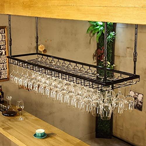 Estante para Vino Que cuelga estantes para Copas de Vino Tinto, Soporte para Techo Colgante para Botella de Vino Estante para Copa de Metal para Copa de Vino (Color: Negro, Tamaño: L120 x W40 cm)