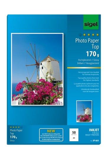 SIGEL IP601 InkJet Fotopapier Top, A4, 50 Blatt, hochglänzend, hochweiß, 170 g - weitere Stückzahlen