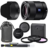Sony Sonnar T FE 55mm f/1.8 ZA Full Frame Lens with AOM Pro Kit. Includes: UV Filter, Circular Polarizing Filter, Fluorescent Day Filter, Sony Lens Hood, Front & Rear Caps - International Version