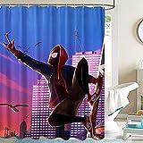 Rideau de Douche, Rideaux de Douche Tissu Spiderman en Tissu Impermeable et Anti-moisissure, Lavable en Machine, avec 12 Crochets Antirouille, 180x180cm