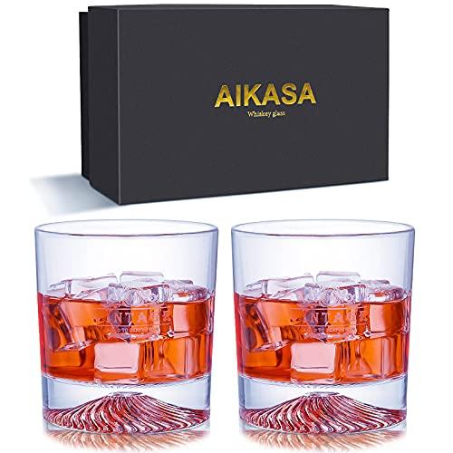 AIKASA Juego de 2 vasos de whisky para hombre, juego de 2 vasos de whisky de fondo grueso, sin plomo, apto para whisky escocés, vaso de cóctel vintage (parte inferior de hilo)
