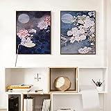 NFXOC Flores Hoja Verde Clásico Oriental Blanco Rosa Seta Arte Retrato Lienzo Pintura Arte contemporáneo Imagen Decoración (60x80cm) 2pcs Sin Marco