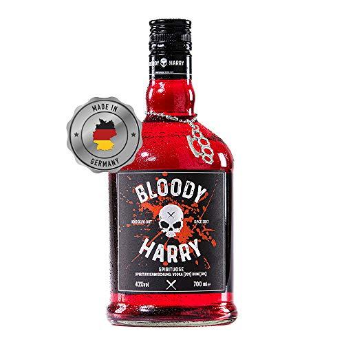 BLOODY HARRY® Premium Rum - Vodka Spirituose | MADE IN GERMANY | 43% Vol. | Spirituose Mit 30% Jamaica Rum und 70% Vodka | Von Hand Veredelt Im Schwarzwald | Perfekte Geschenkidee | 0,7 Liter