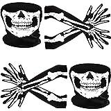 Tatuo Guantes de Esqueleto Blancos y Máscara de Calavera Disfraz de Mitad Huesos de Fantasma para Adultos Halloween Danza Fiesta de Disfraz (2 Juego, Estilo A)