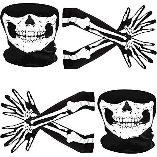 Weiße Skeletthandschuhe und Schädelgesichtsmaske Halb Geist Knochen Cosplay Kostüme für Erwachsene Halloween Tanz Kostüm Party (2 Set, Stil A)