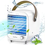 Exatfina Mini Enfriador de Aire Acondicionado Portátil Escritorio,Ventilador de Aire Frio Pequeño Bajo Consumo,Humidificador Ventilador Hielo USB Móvil Oficina Hogar