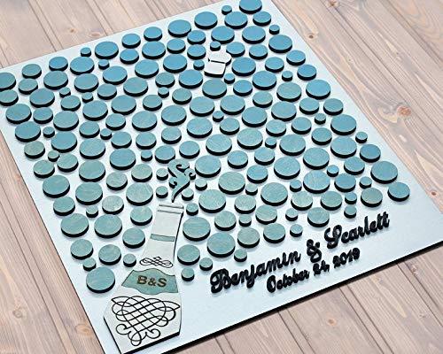 Dkisee Bruiloft Gast Boek Alternatieve Champagne Fles Gastenboek 3D Hout Gast Boek Lichtblauwe Bubbels Aangepaste Bruiloft Thema Unieke Bruiloft Teken Bruiloft Gast Boek