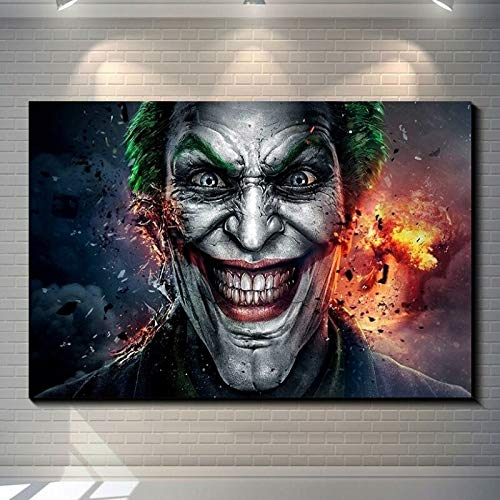 Wfmhra DC Movie Clown Poster Wall Canvas Prints Comic Wall Stand Póster de película 50x70cm Sin Marco