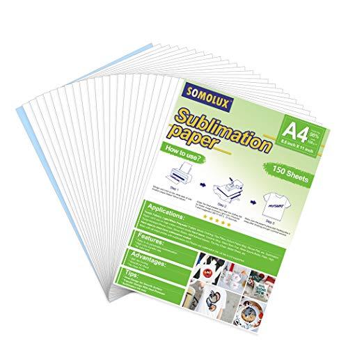 SOMOLUX Sublimationspapier, 21,6 x 27,9 cm, Wärmetransferpapier, kompatibel mit Epson HP Canon Sawgrass Tintenstrahldrucker für T-Shirt und Keramikbecher usw. (150 Blatt)