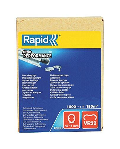 Rapid Zaun-Ringklammern VR22 Verzinkt, 1.600 Stk., zur Befestigung von Spanndrähten und Zäunen, für FP222 un FP20 Zaunzange