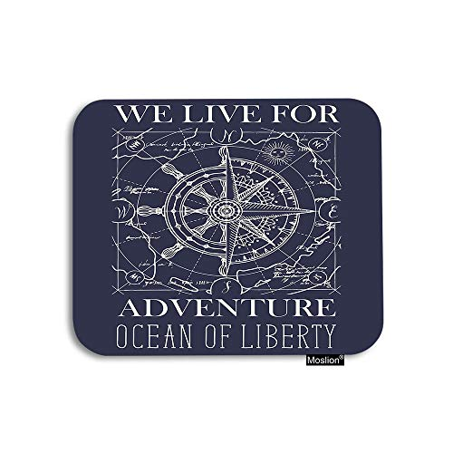 Moslion Nautical Mouse Pad Retro Wind Rose Compass Steering Wheel Map Ocean Adventure Gaming Mouse Pad Rubber Large Mousepad for Computer Desk Laptop Office Work 7.9x9.5 Inch Navy Blue