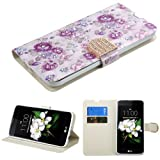 Case+Stylus, MYBAT PU Leather Purse Clutch Wallet Cover Fits LG L52VL Treasure LTE/K373 Escape 3/ K350 K8/LS675 Tribute 5/MS330 K7 /K371 (Phoenix 2) Fresh Purple Flowers Roses with Diamante Flap