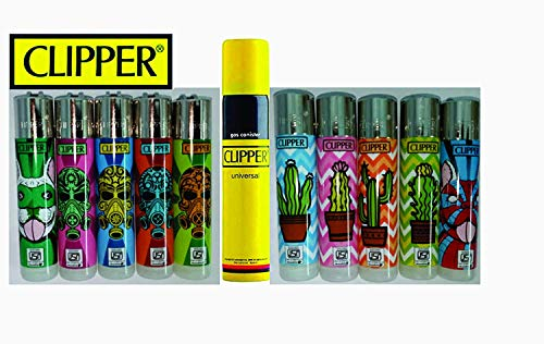 Kofy Clipper Lighter Mega Pack of 8 Assorted Lighters with Complementary100 Ml gas Can