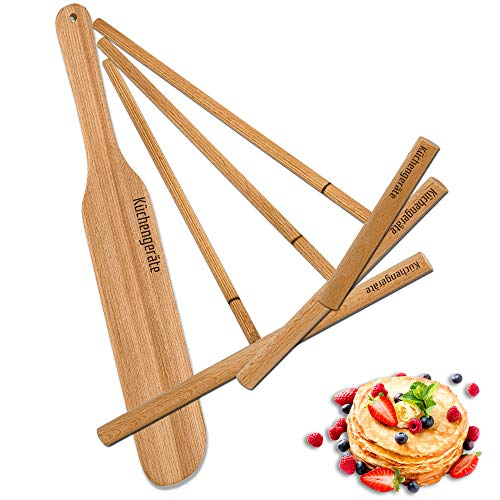 Crepe Spreader and Spatula 4 Set - Crepes De Espatula - 12 Inch Crepe Spatula 3.5, 5, 7 Inch Spreaders Kit - all Natural Ashtree - Creperie Pancake Maker - all Sizes To Fit For Crepe Pans