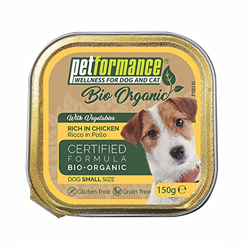 PETFORMANCE BENESSERE PER CANI E GATTI Alimento Umido per Cani Adulti di Piccola Taglia - Biologico, Senza Glutine e Senza Cereali, 11 Vaschette da 150 gr, Pollo e Verdure