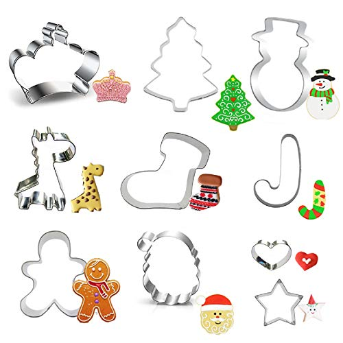 jingyuanli 10pcs Natale Formine per Stampi Biscotti, Acciaio Inox Formine per Biscotti Stampi, Set di Formine per Biscotti di Natale in 3D
