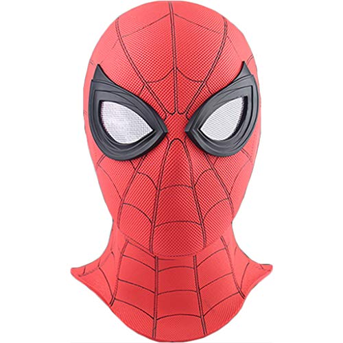 Spider-Man: Far From Home, Marvel Avengers Spiderman Máscara de cara completa de PVC Casco Cascos, Película Cosplay Sombra Disimular Accesorios de disfraces de batalla, Cabeza de Halloween,A-OneSize