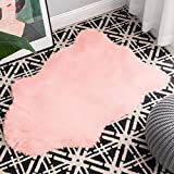 Carvapet Faux Sheepskin Fur Rug Luxury Soft Chair Cover Couch Seat Cushioned Fake Fur Pad Plush Area Rugs Bedside Throw Rug for Bedroom and Living Room, 2ft x 3ft, Baby Pink