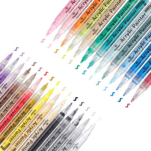 ARTISTORE 28 Acryl Malertinte Farben Acrylfarben Wasserfest Holz Stift Farbe, 0.7mm Acrylstifte Feine Spitze für Steine Bemalen/ Holz/Leinwand/ Fotoalbum/ Glas/ Metall
