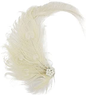 Peacock Feather Hair Clip Fascinators with Rhinestones 20s Gatsby Flapper Headband Wedding Dance Party Hair Accessory