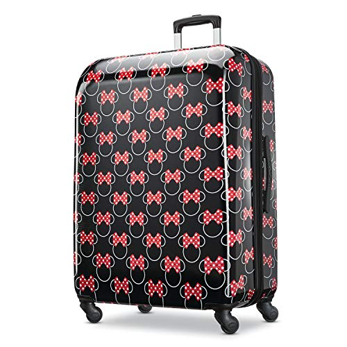 American Tourister Disney Hardside Luggage with Spinner Wheels, Minnie Mouse Head Bow, Checked-Large 28-Inch